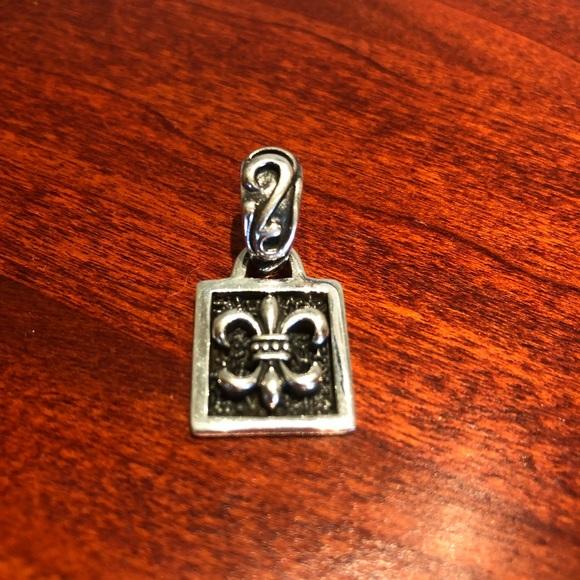 Silpada Fleur De Lis Sterling Silver Pendant on Black Leather.